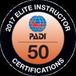 Viðurkenning frá PADI - PADI elite instructor 2017